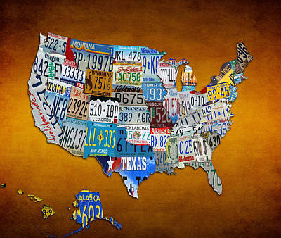Maine Roads Mixed Media - The Usa License Tag Map by Brian Reaves