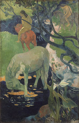 Famous Horse Art Painting - The White Horse by Paul Gauguin