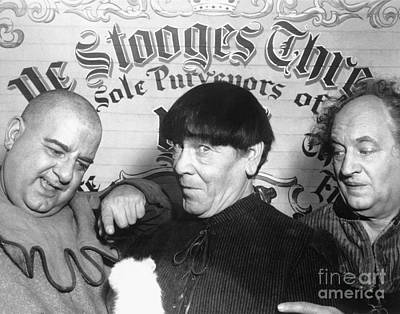 Three Stooges Photograph - Three Stooges - Larry Moe And Curly by MMG Archive Prints