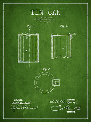 Tin Can Patent Drawing From 1878 Art Print