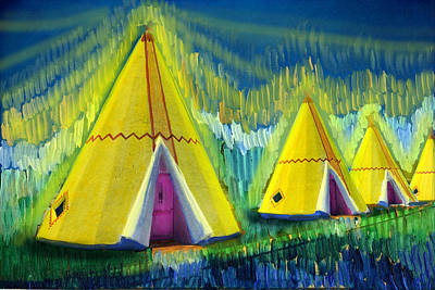 4 Tipis Art Print by Cindy McIntyre