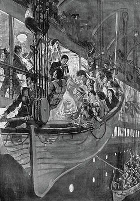 Titanic Drawing - Titanic Lifeboats, 1912 by Granger