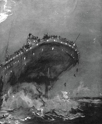 Drawing - Titanic Sinking, 1912 by Granger