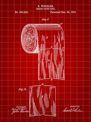 Ply Digital Art - Toilet Paper Roll Patent 1891 - Red by Stephen Younts
