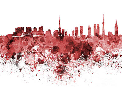 Tokyo Skyline In Watercolor On White Background Art Print