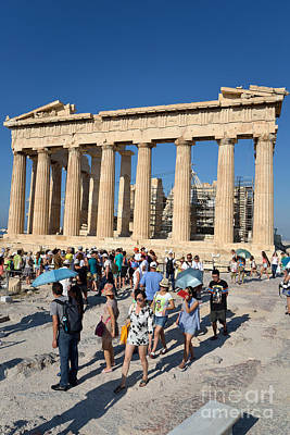 Antiquity Photograph - Tourists In Acropolis Of Athens In Greece by George Atsametakis