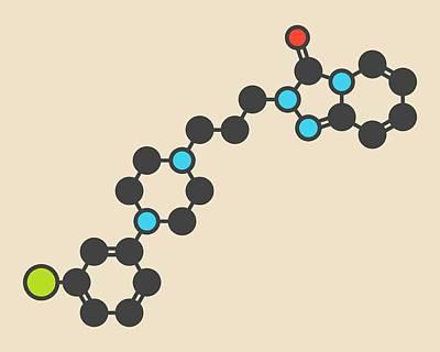 Antidepressant Photograph - Trazodone Antidepressant Drug Molecule by Molekuul