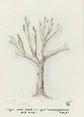 Drawing - 4 Trees-2nd Tree Winter by Christine Gibson