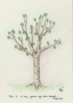 Drawing - 4 Trees-3rd Tree Spring by Christine Gibson