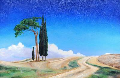 4 Trees, Picenza, Tuscany, 2002 Oil On Canvas Art Print by Trevor Neal