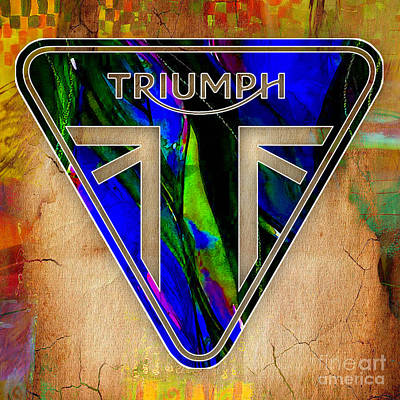 Mixed Media - Triumph Motorcycle by Marvin Blaine