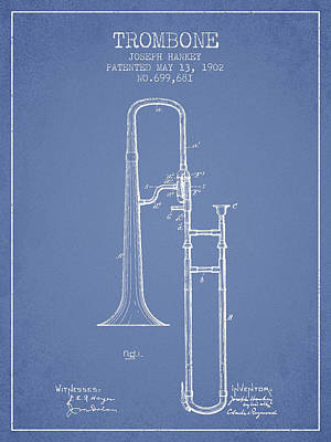 Trombone Drawing - Trombone Patent From 1902 - Light Blue by Aged Pixel