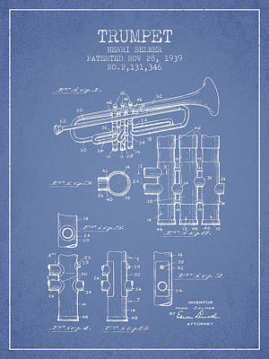 Trumpet Patent From 1939 - Light Blue Art Print by Aged Pixel