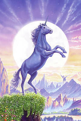 Painting - Unicorn Moon by Steve Crisp
