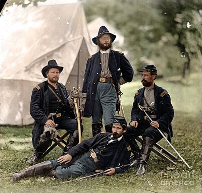4 Union Officers Of The 4th Pennsylvania Cavalry Art Print by Celestial Images