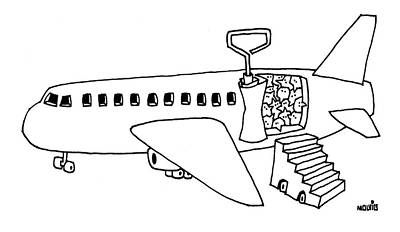 Plane Drawing - New Yorker November 13th, 2006 by Ariel Molvig