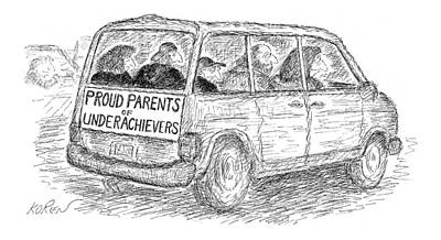 Family Car Drawing - Proud Parents Of Underachievers by Edward Koren