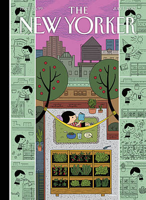 Green Painting - New Yorker July 1st, 2013 by Ivan Brunetti
