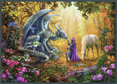 Sunset Unicorns Art Print by Jan Patrik Krasny