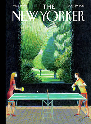 Tennis Painting - New Yorker July 29th, 2013 by Lorenzo Mattotti