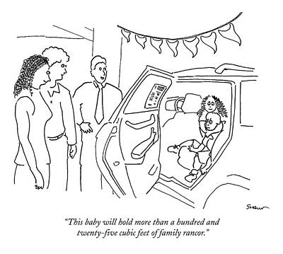 Family Car Drawing - This Baby Will Hold More Than A Hundred by Michael Shaw