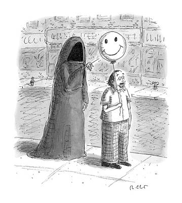 Smiling Drawing - New Yorker September 26th, 2016 by Roz Chast