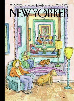 Cat Painting - New Yorker March 4th, 2013 by Roz Chast