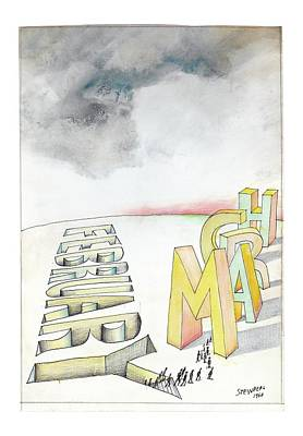 Drawing - February To March by Saul Steinberg