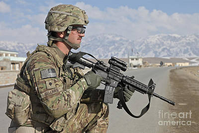Logar Photograph - U.s. Army Specialist Provides Security by Stocktrek Images