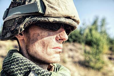 Photograph - U.s. Marine With Warpaint On Face by Oleg Zabielin