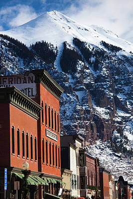 North American Photograph - Usa, Colorado, Telluride, Main Street by Walter Bibikow