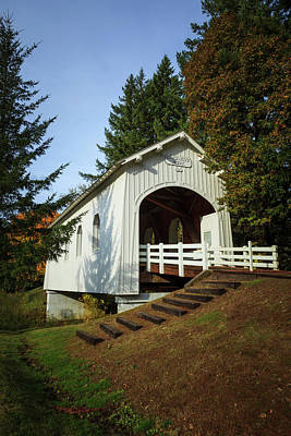 Covered Bridge Photograph - Usa, Oregon, Pedee, Minnie Ritner by Rick A Brown