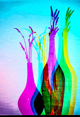 Digital Art - 4 Vases In Colored Light Silhouettes by Georgianne Giese