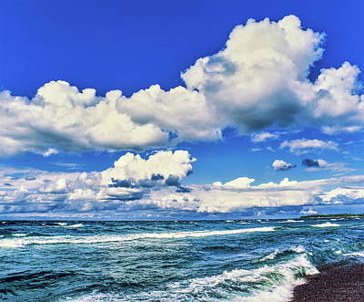 View Of Lakeshore Against Cloudy Sky Art Print