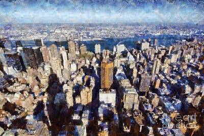 Painting - View Of Manhattan From Empire State Building by George Atsametakis