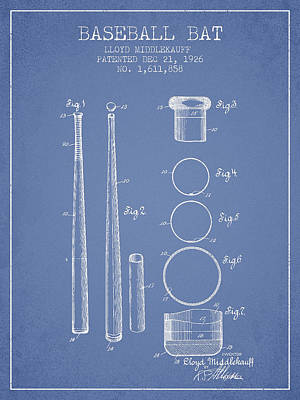 Baseball Digital Art - Vintage Baseball Bat Patent From 1926 by Aged Pixel