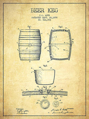 Beer Royalty-Free and Rights-Managed Images - Beer Keg Patent Drawing from 1898 - Vintage by Aged Pixel