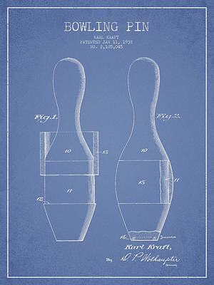 Venice Beach Bungalow - Vintage Bowling Pin Patent Drawing from 1938 by Aged Pixel