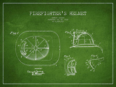 Vintage Firefighter Helmet Patent Drawing From 1932 Art Print by Aged Pixel