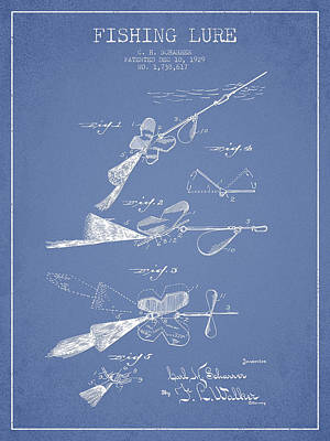 Fish Drawing - Vintage Fishing Lure Patent Drawing From 1929 by Aged Pixel