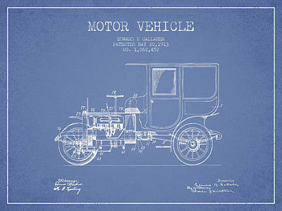 Vintage Motor Vehicle Patent From 1913 Art Print by Aged Pixel