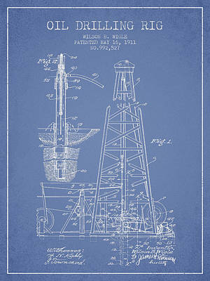 Vintage Oil Drilling Rig Patent From 1911 Print by Aged Pixel
