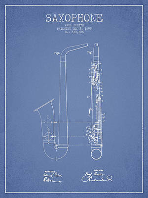 Saxophone Drawing - Saxophone Patent Drawing From 1899 - Light Blue by Aged Pixel