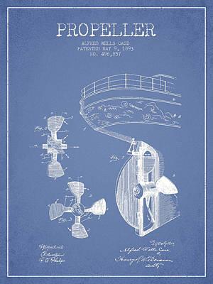 Shipyard Digital Art - Vintage Ship Propeller Patent From 1893 by Aged Pixel