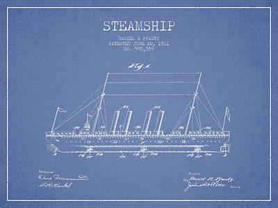 Shipyard Digital Art - Vintage Steamship Patent From 1911 by Aged Pixel