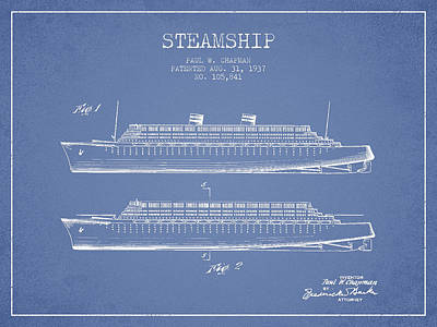 Shipyard Digital Art - Vintage Steamship Patent From 1937 by Aged Pixel