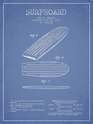 Surfing Art Digital Art - Vintage Surfboard  Patent From 1958 by Aged Pixel