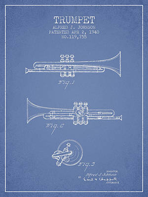 Trumpet Digital Art - Vintage Trumpet Patent From 1940 - Light Blue by Aged Pixel