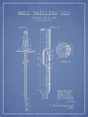 Vintage Well Drilling Rig Patent From 1941 Print by Aged Pixel