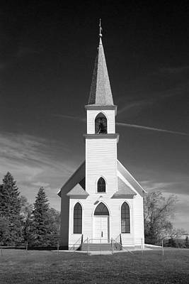 Vintage White Church Art Print